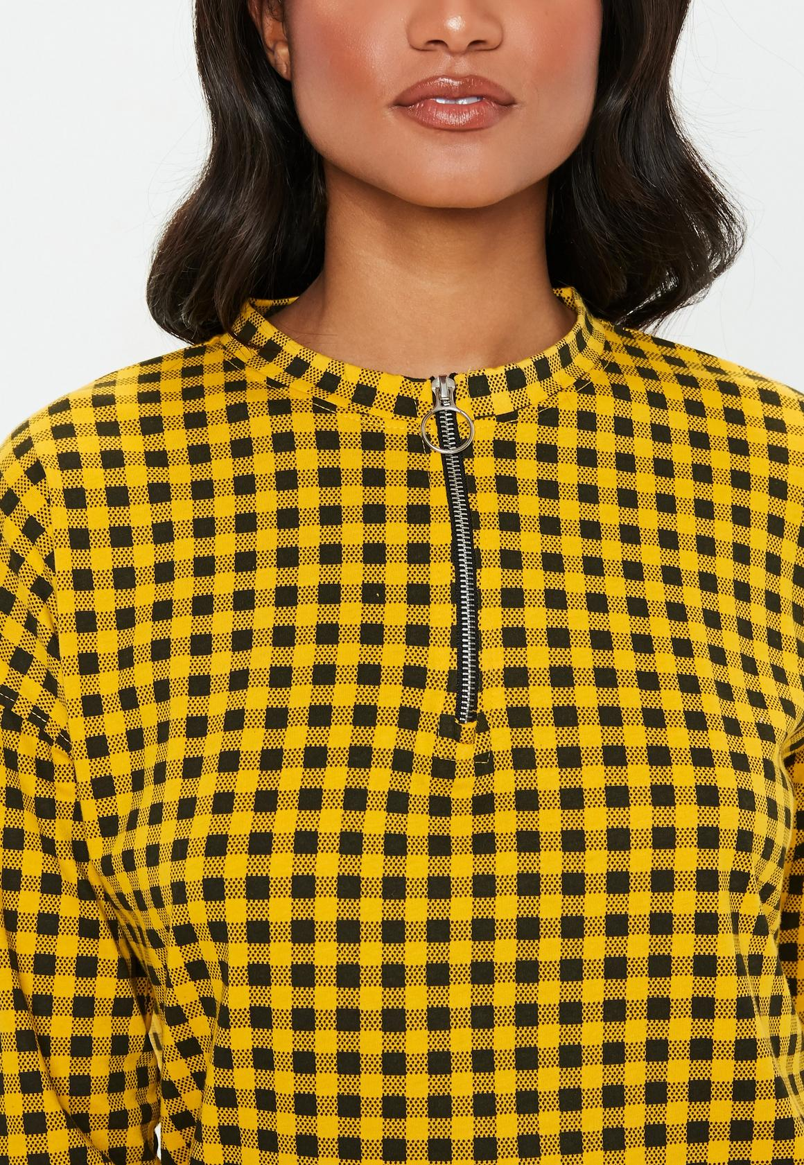 Missguided - robe-sweat  à damier détail zip - 3