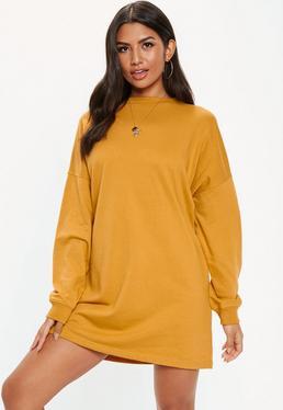 Mustard Basic Sweater Dress