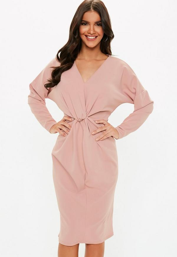 Pink Knot Front Midi Shift Dress by Missguided