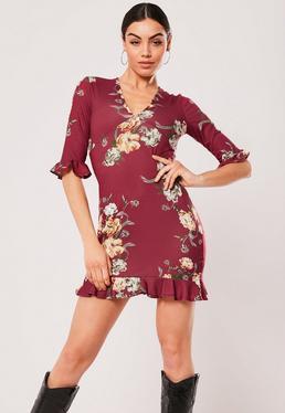 Burgundy Fl Tea Dress