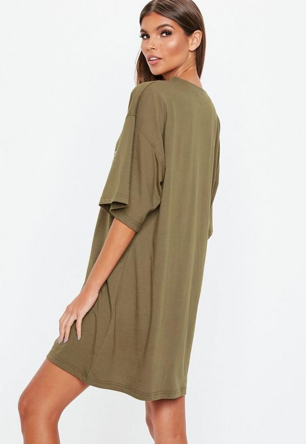 c3dce05582990 Khaki Oversized Kingdom T Shirt Dress. Previous Next
