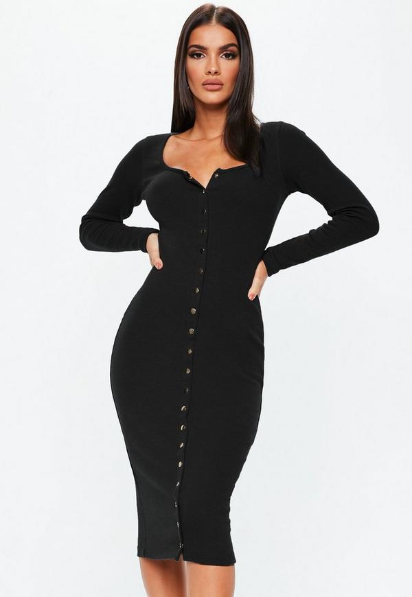 Black Long Sleeve Ribbed Popper Midi Dress Missguided
