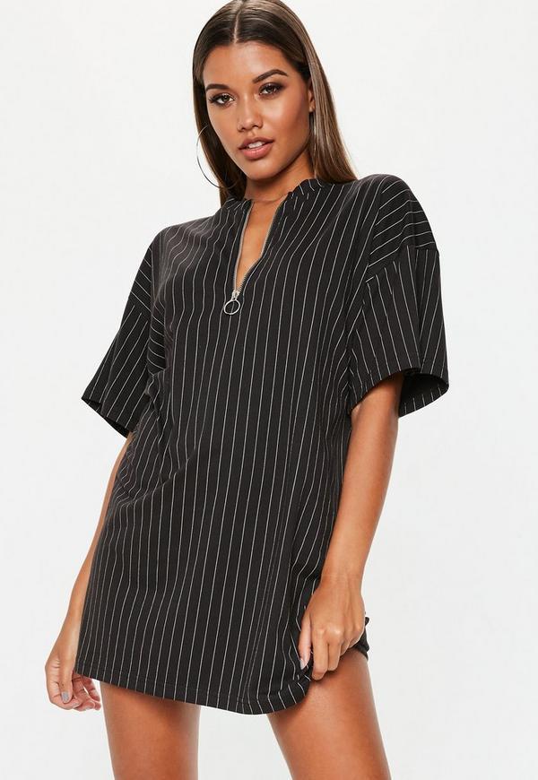 12b4c0ddd3fe Black Oversized Zip Pinstripe T Shirt Dress
