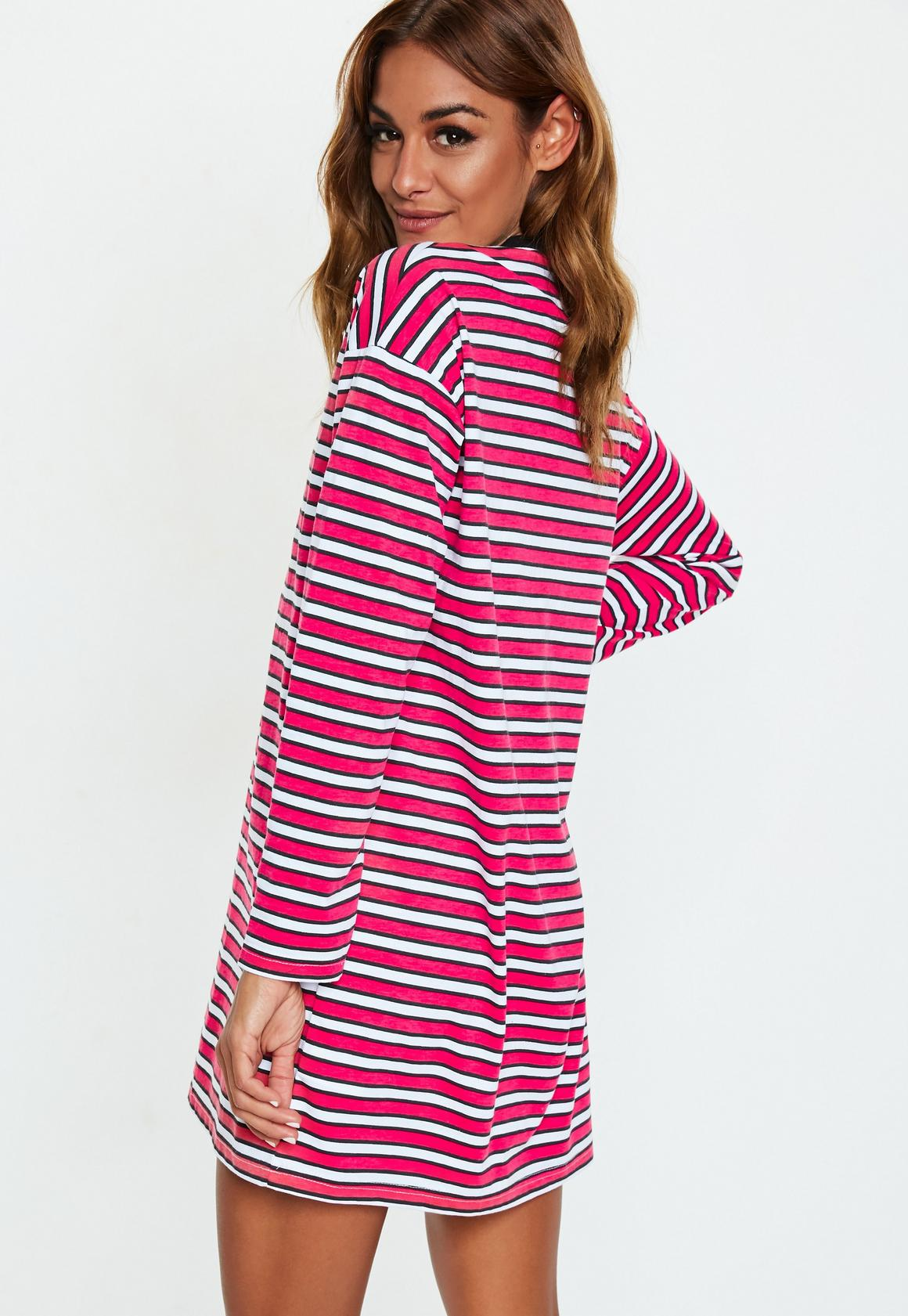 "Missguided - robe t-shirt à manches longues rayée rouge slogan ""no chance"" - 4"