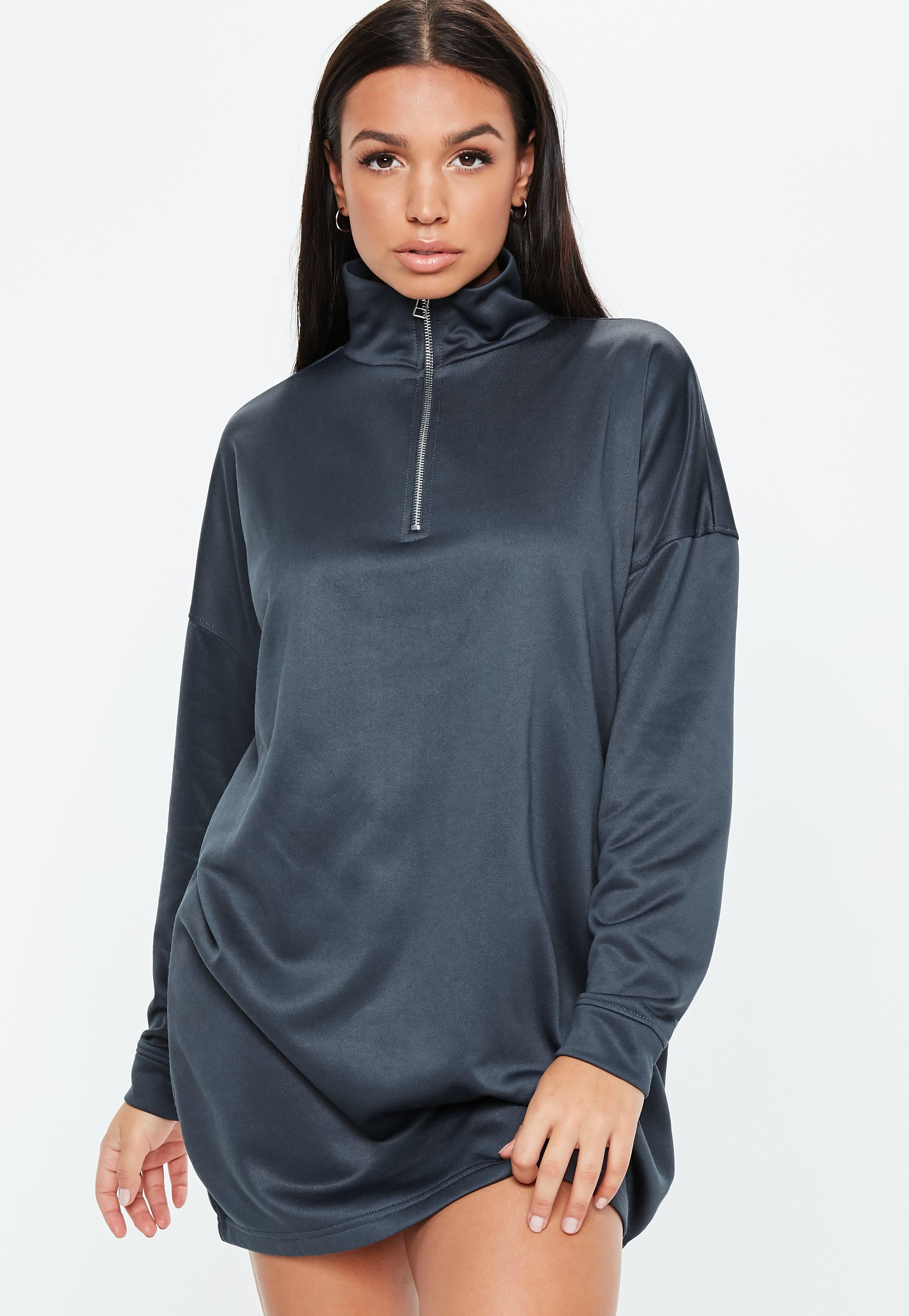 0707e3f4ba Navy Oversized Long Sleeve High Neck Zip Sweater Dress