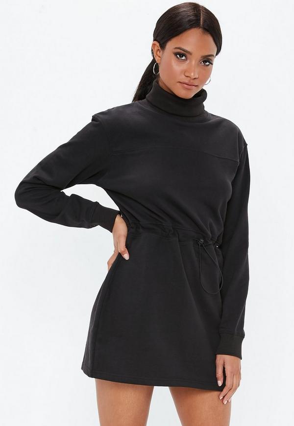 c8c65b089 Black Oversized Toggle Waist Sweater Dress