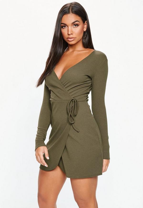dcba7b5569 Khaki Tie Side Tea Dress