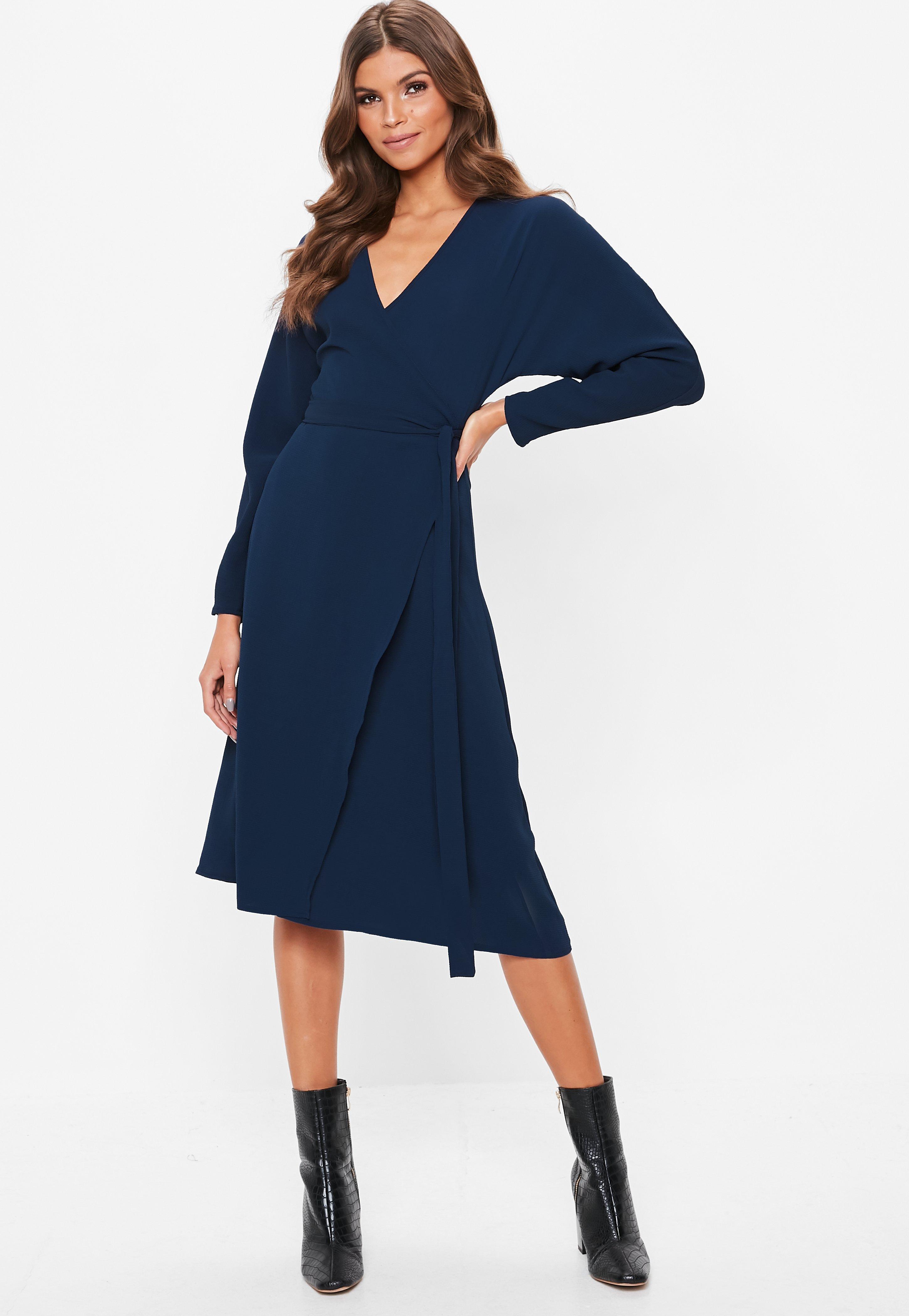 Navy Wrap Tie Waist Long Sleeve Midi Dress  ebe067ae266c