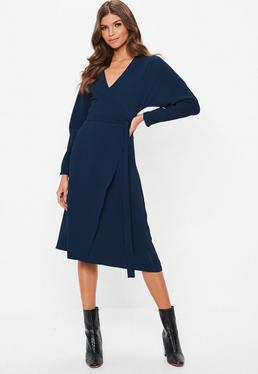 navy wrap tie waist long sleeve midi dress