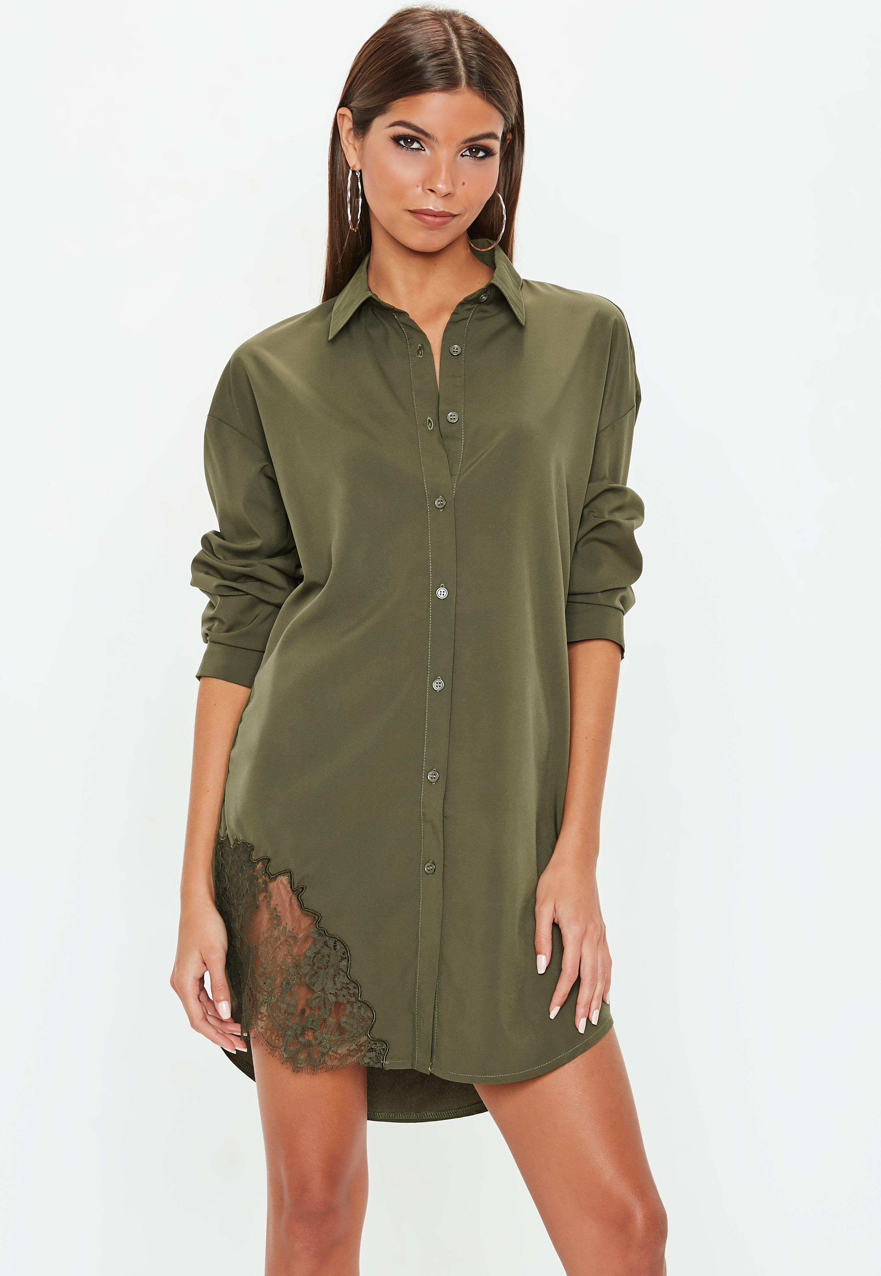 Khaki Lace Trim Shirt Dress Missguided
