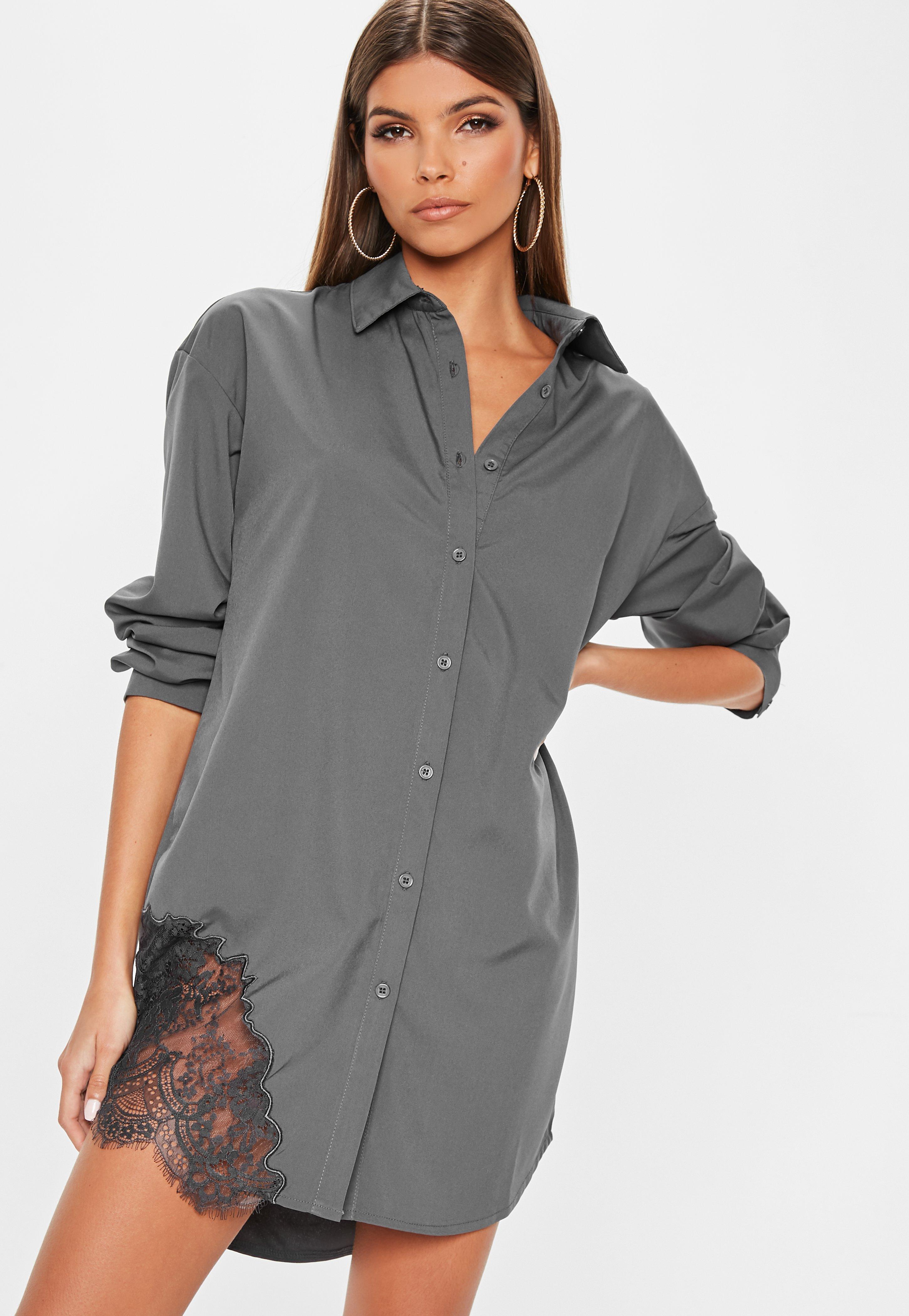 b1578a1466cb Grey Lace Trim Shirt Dress