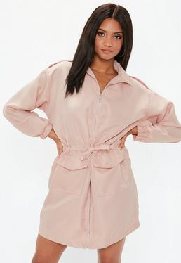 Pink Oversized Zip Through Utility Shirt Dress