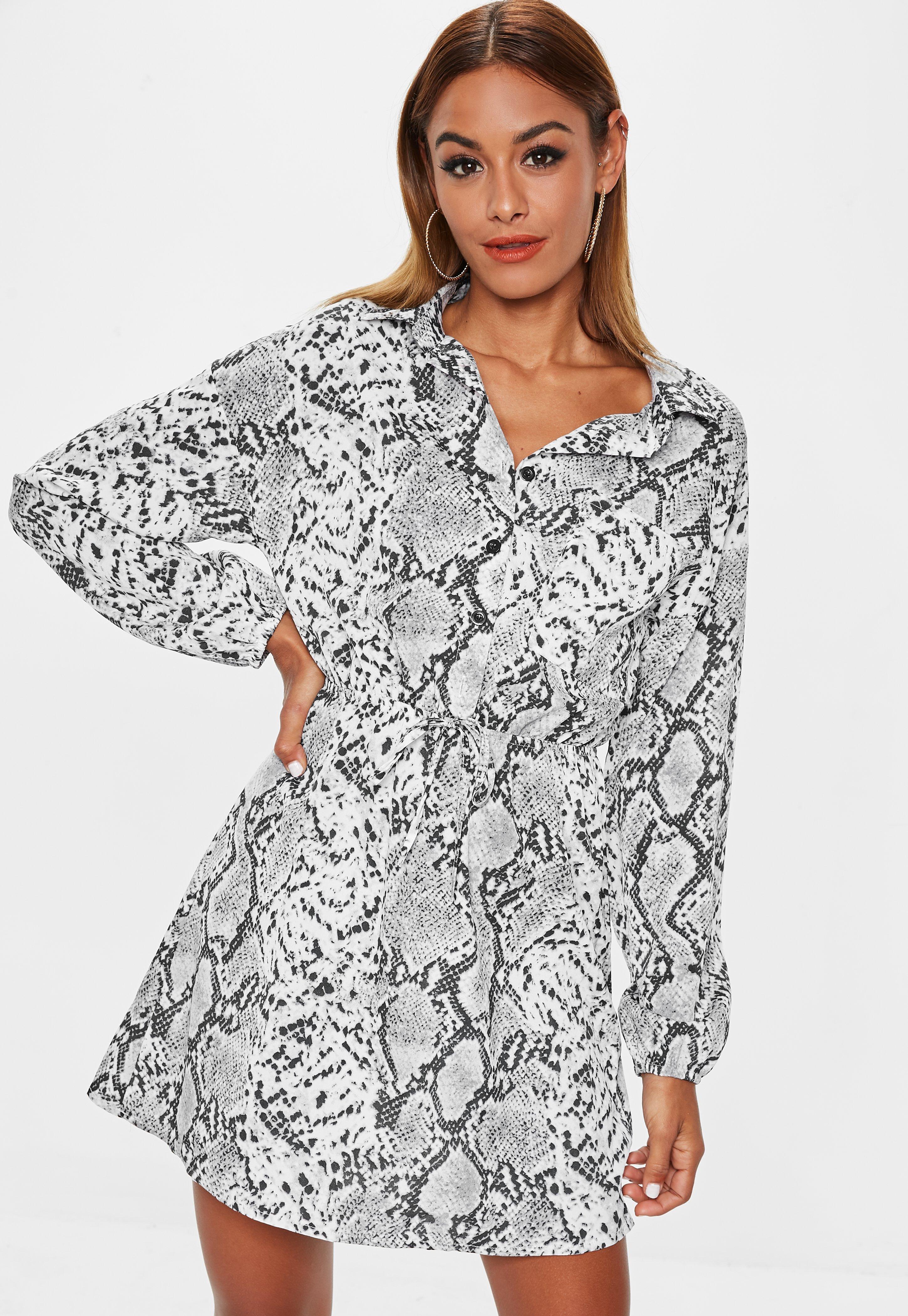 4826cfbfdaa Grey Snake Print Shirt Dress