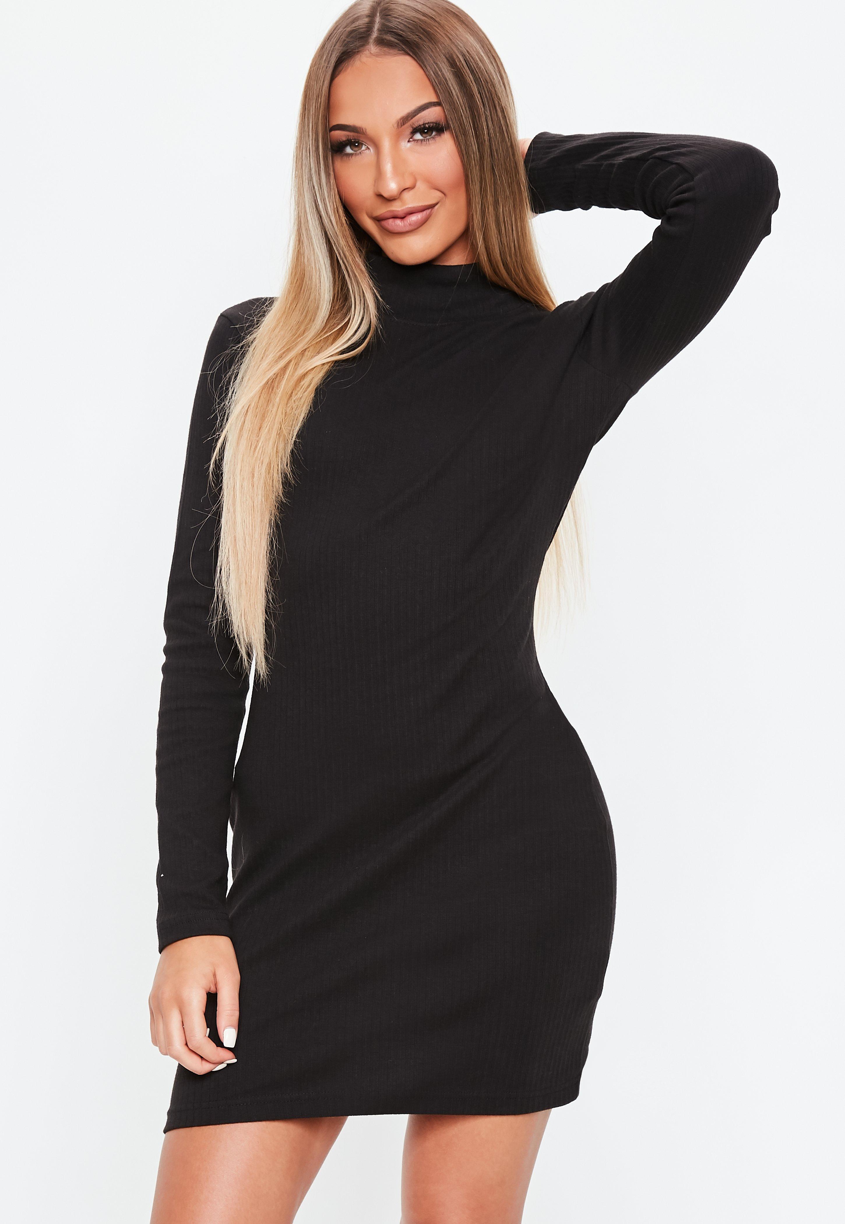 be6cf063748 Black High Neck Ribbed Sweater Dress