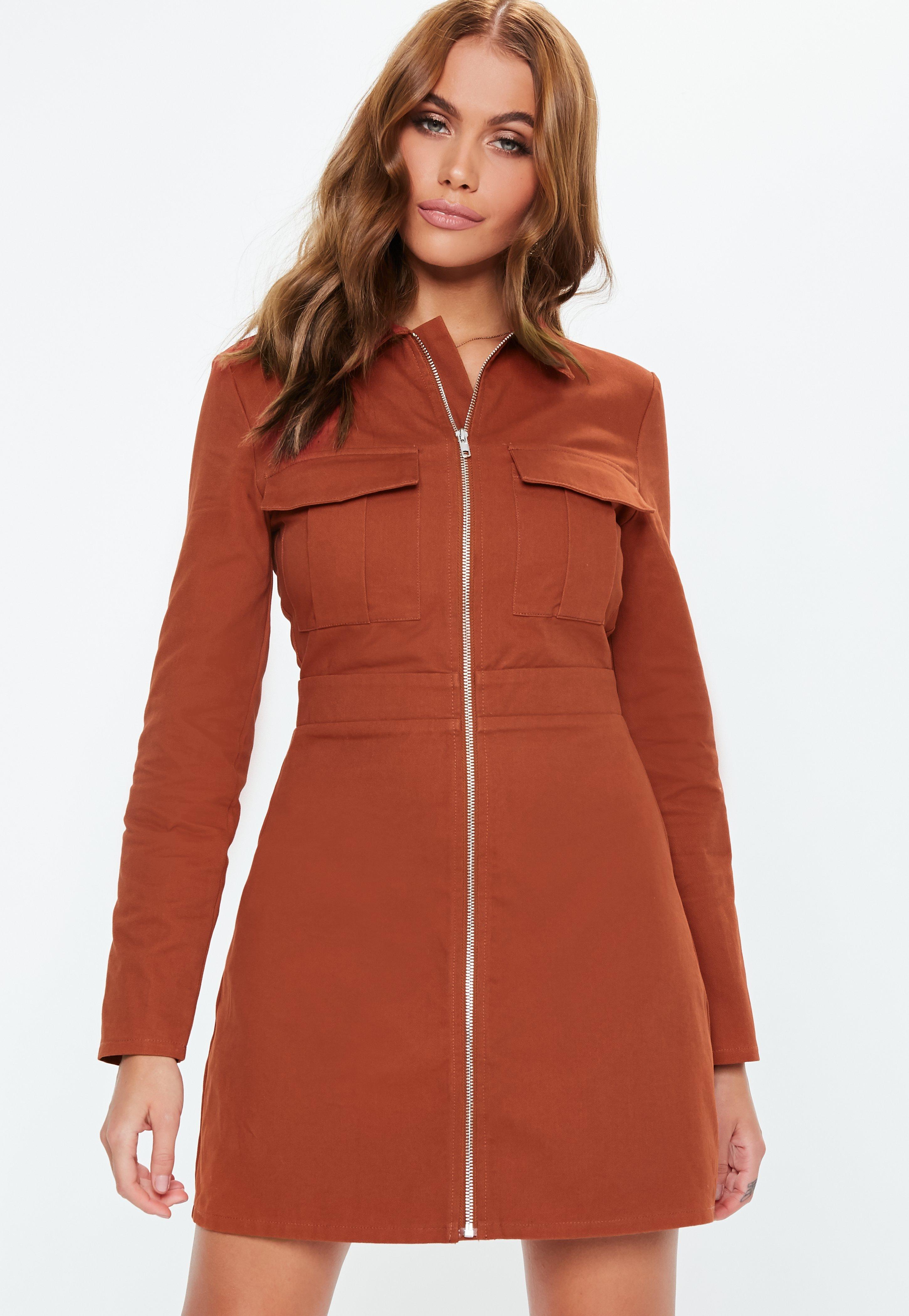 fbe3b2af0686 Rust Zip Through Skater Shirt Dress