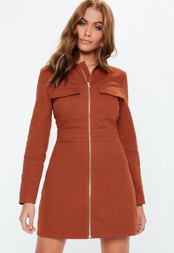 8cf8837e84 Rust Zip Through Skater Shirt Dress
