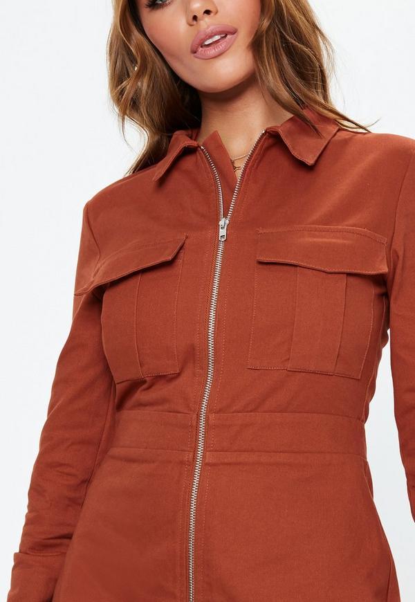 fe78d471f2 ... Rust Zip Through Skater Shirt Dress. Previous Next