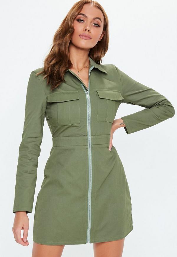 d54001077c Khaki Zip Through Skater Shirt Dress