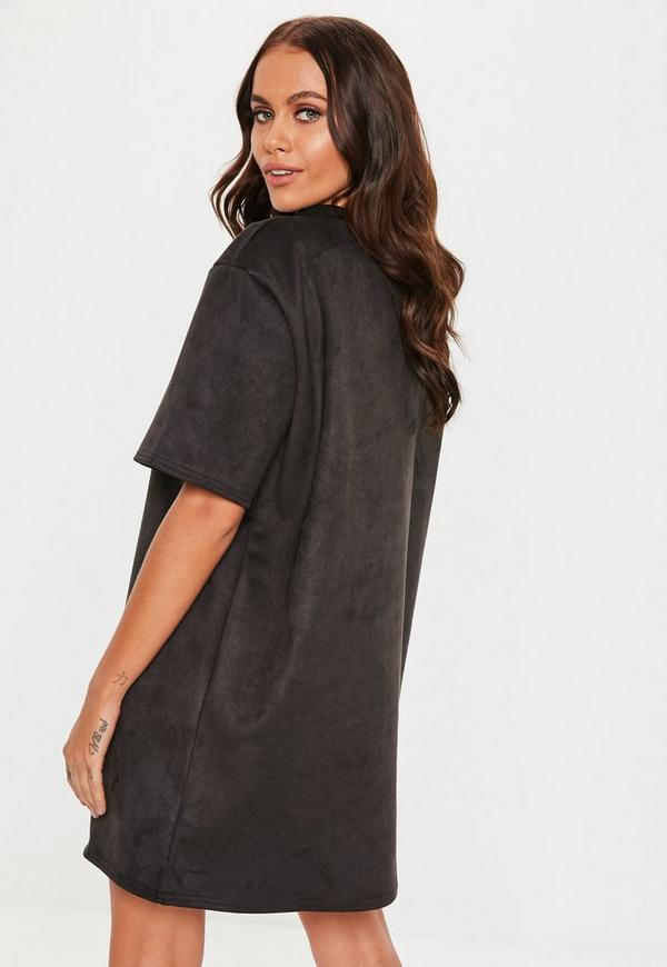 1bd6f315625 Black Oversized High Neck Suede Dress. Previous Next