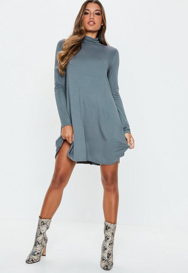 2368d0a425e3 Grey Roll Neck Swing Dress. Previous Next