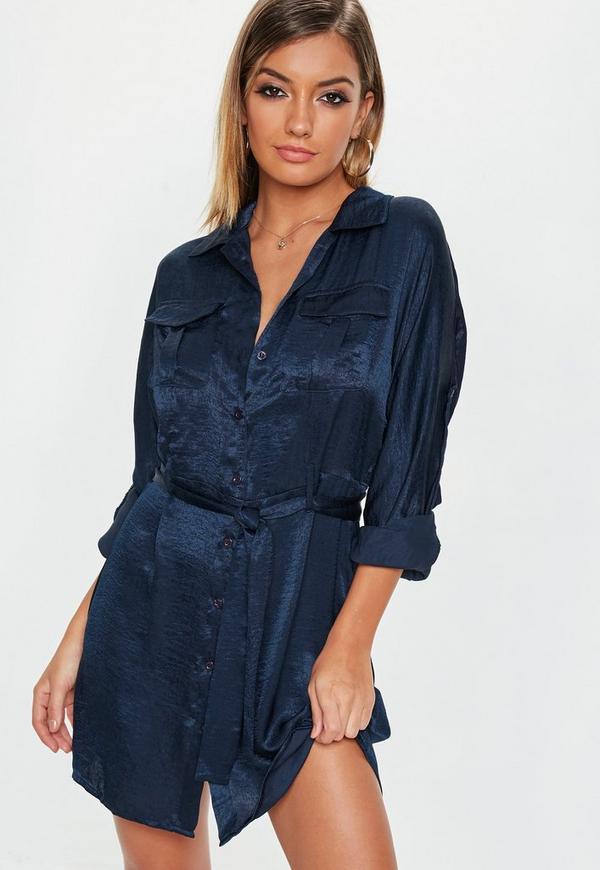 144c8b1793af1 Navy Tie Waist Utility Satin Shirt Dress | Missguided