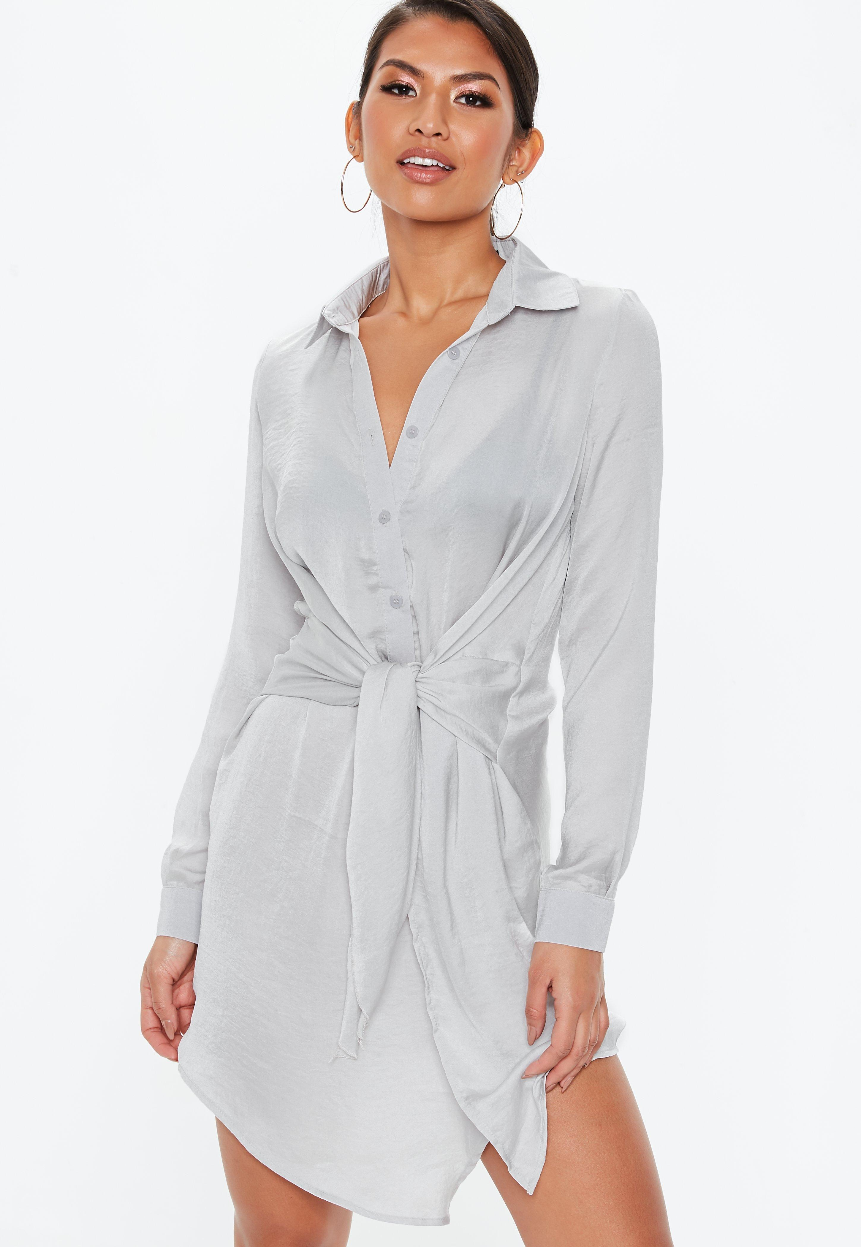 87fa0500604 Grey Tie Waist Shirt Dress