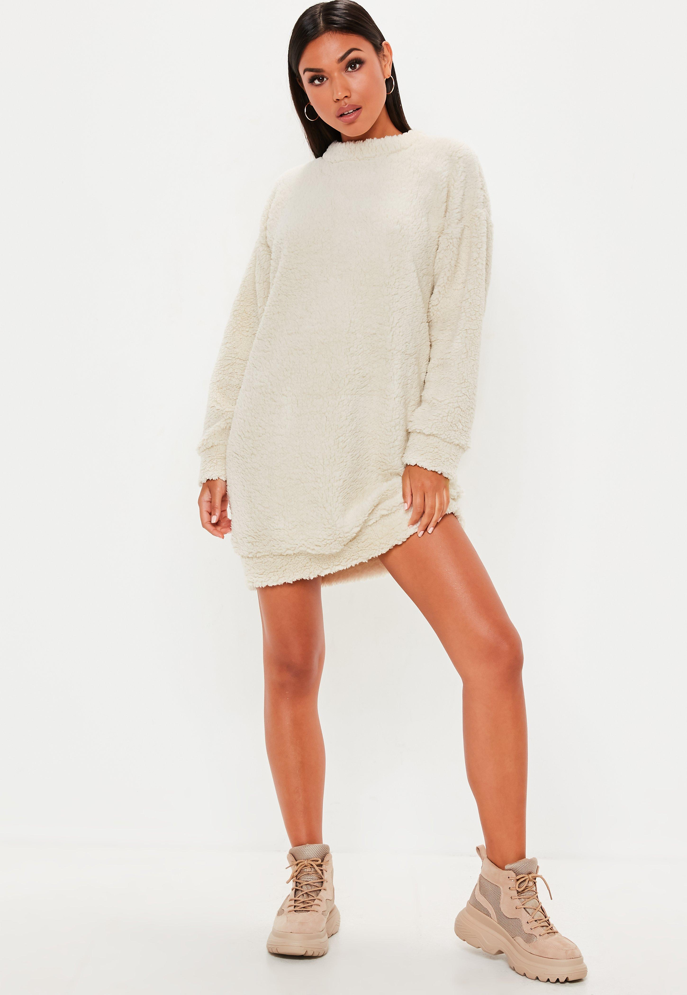 a78c83e8e6a Cream Borg Teddy Crew Neck Sweatshirt Dress
