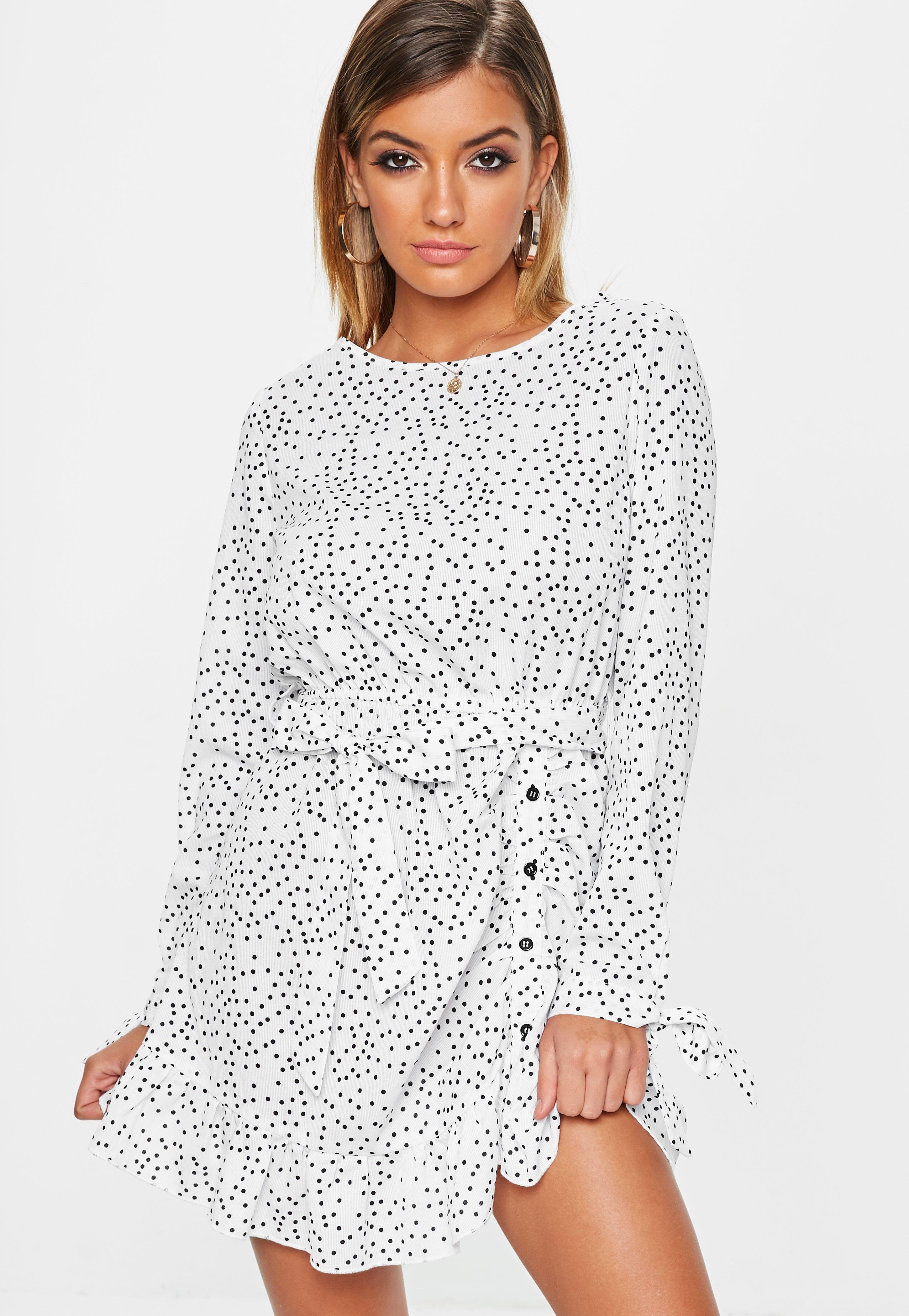 d26ce57a3e751 Cream Ruched Polka Dot Dress   Missguided