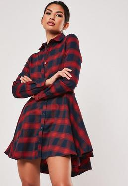 Red Checked Skater Shirt Dress 5a963c428