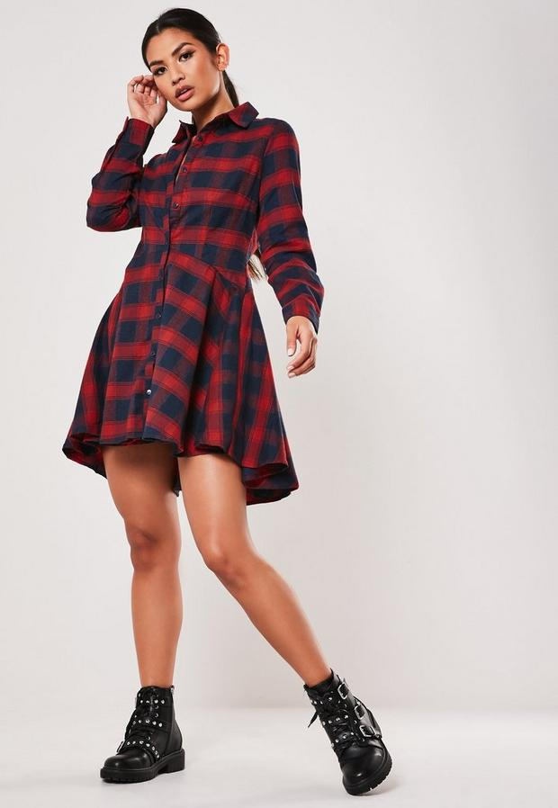 Missguided - Checked Skater Shirt Dress - 2