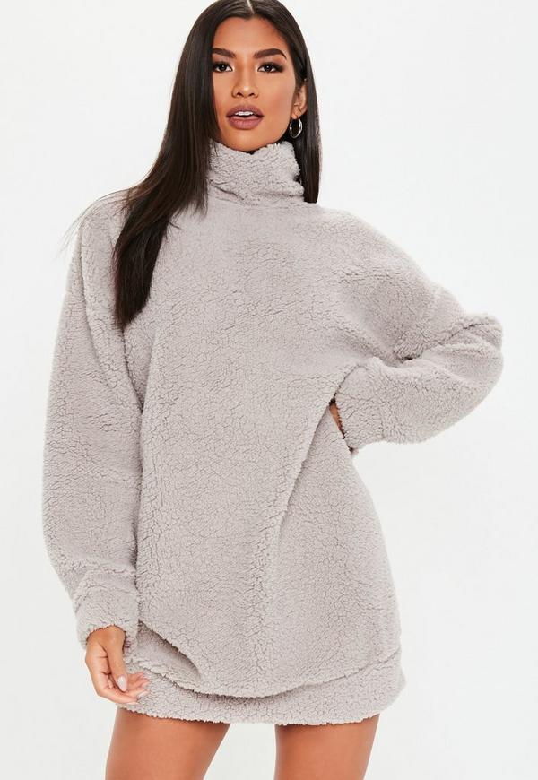 17ea10f0fcc Grey Teddy High Neck Sweatshirt Dress