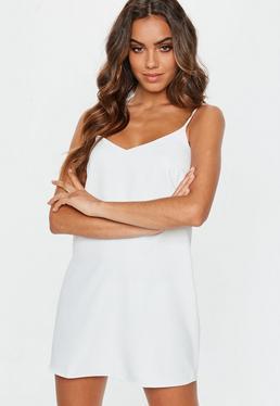fb57299672 White Crepe Cami Strap Shift Dress