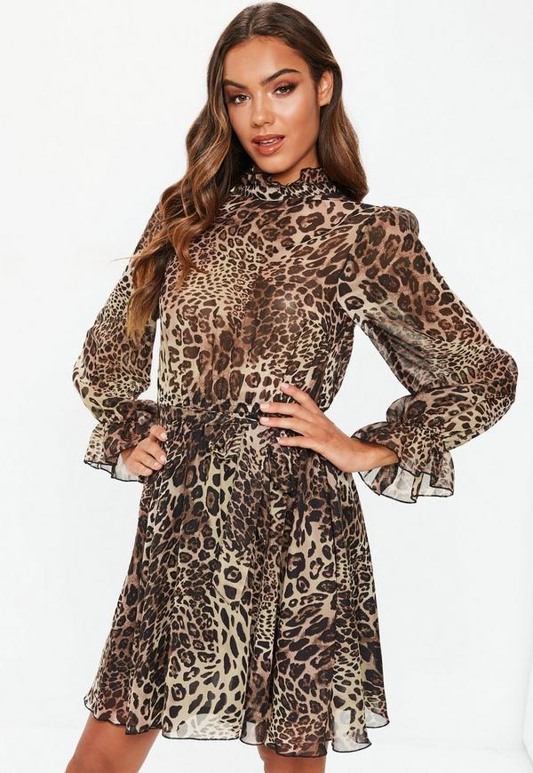 da24d8cda67d Brown Leopard High Neck Tie Waist Smock Dress | Missguided Ireland