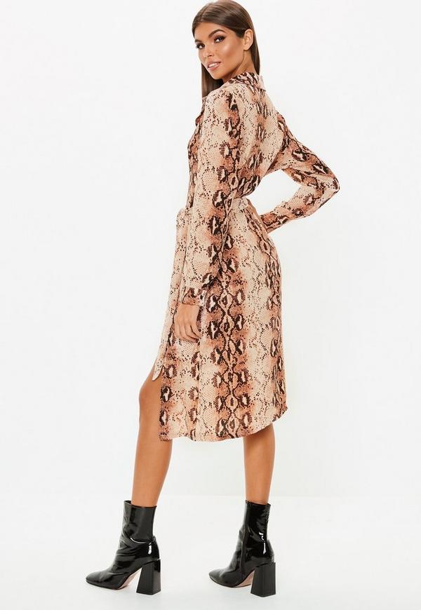 Snake Print Button Down Midi Shirt Dress. Previous Next 676f6c0e294