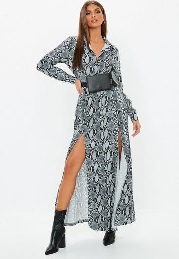 Snake Print Button Midi Shirt Dress Missguided
