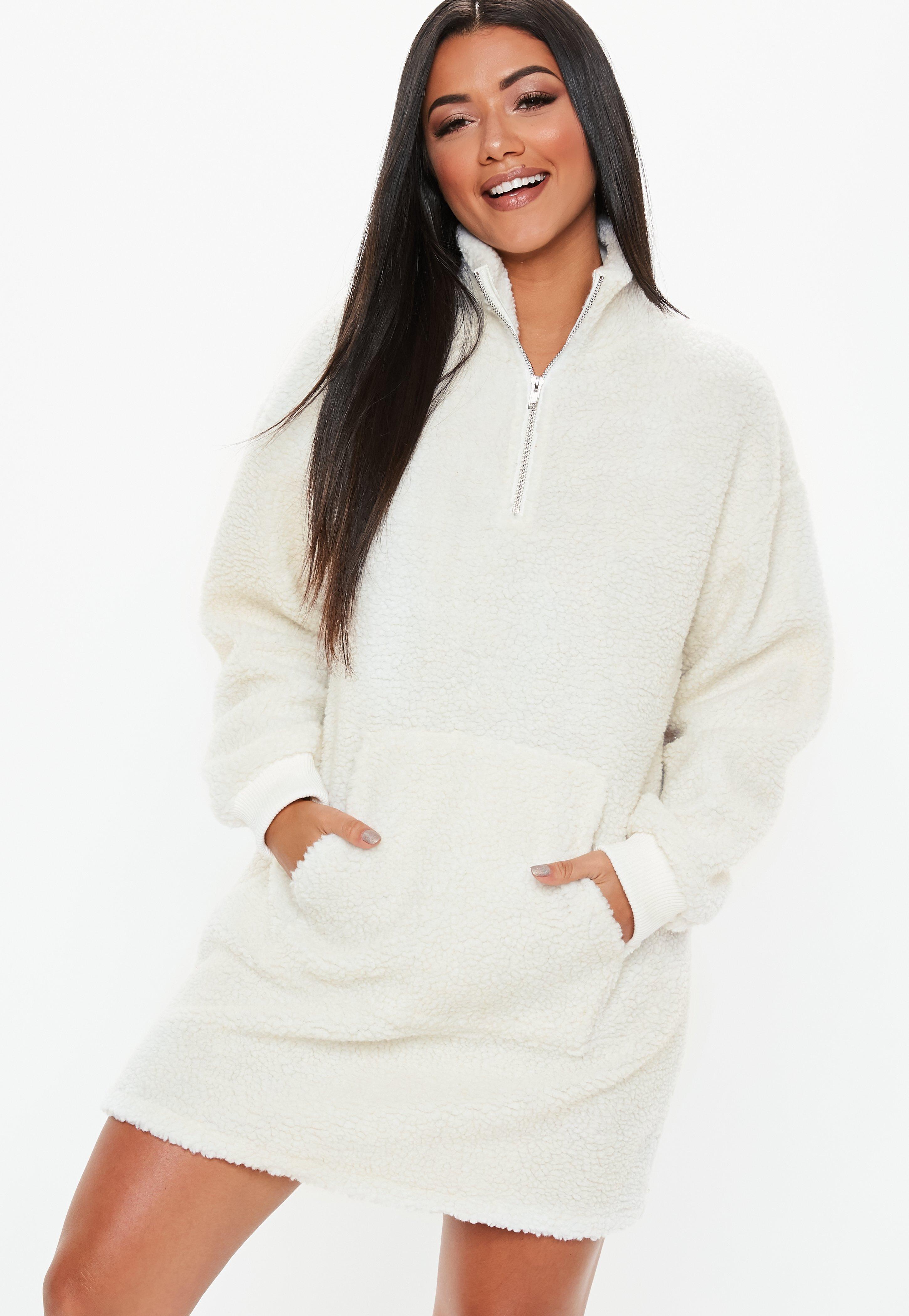 bc726543e28 Cream High Zip Neck Borg Sweater Dress
