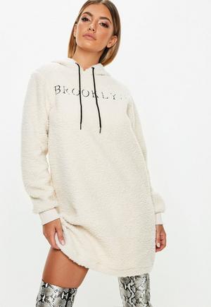 671478f3828 £10.00. cream borg brooklyn slogan sweater dress
