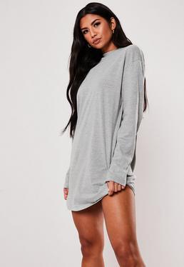 Robe t-shirt à manches longues grise 094df6d6266