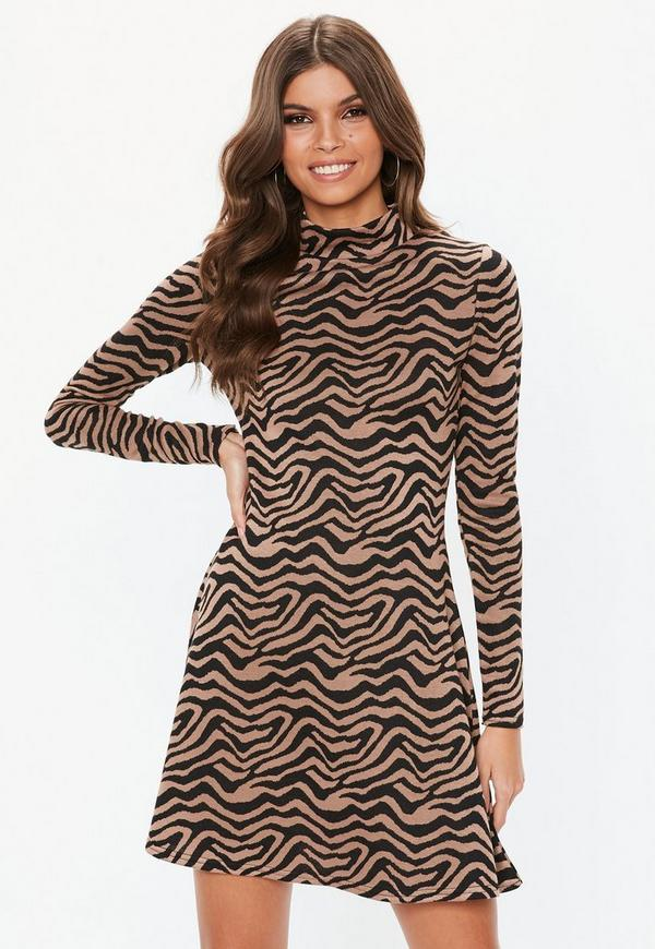 776887039c Brown Animal Print Sweater Dress