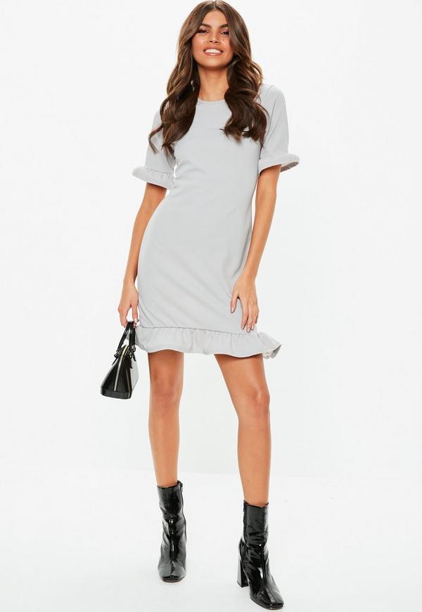 47fd9a84c39 Grey Frill Detail Short Sleeve Shift Dress