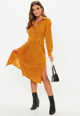 Mustard Polka Dot Midi Shirt Dress Mustard Polka Dot Midi Shirt Dress f7ed1d12d381