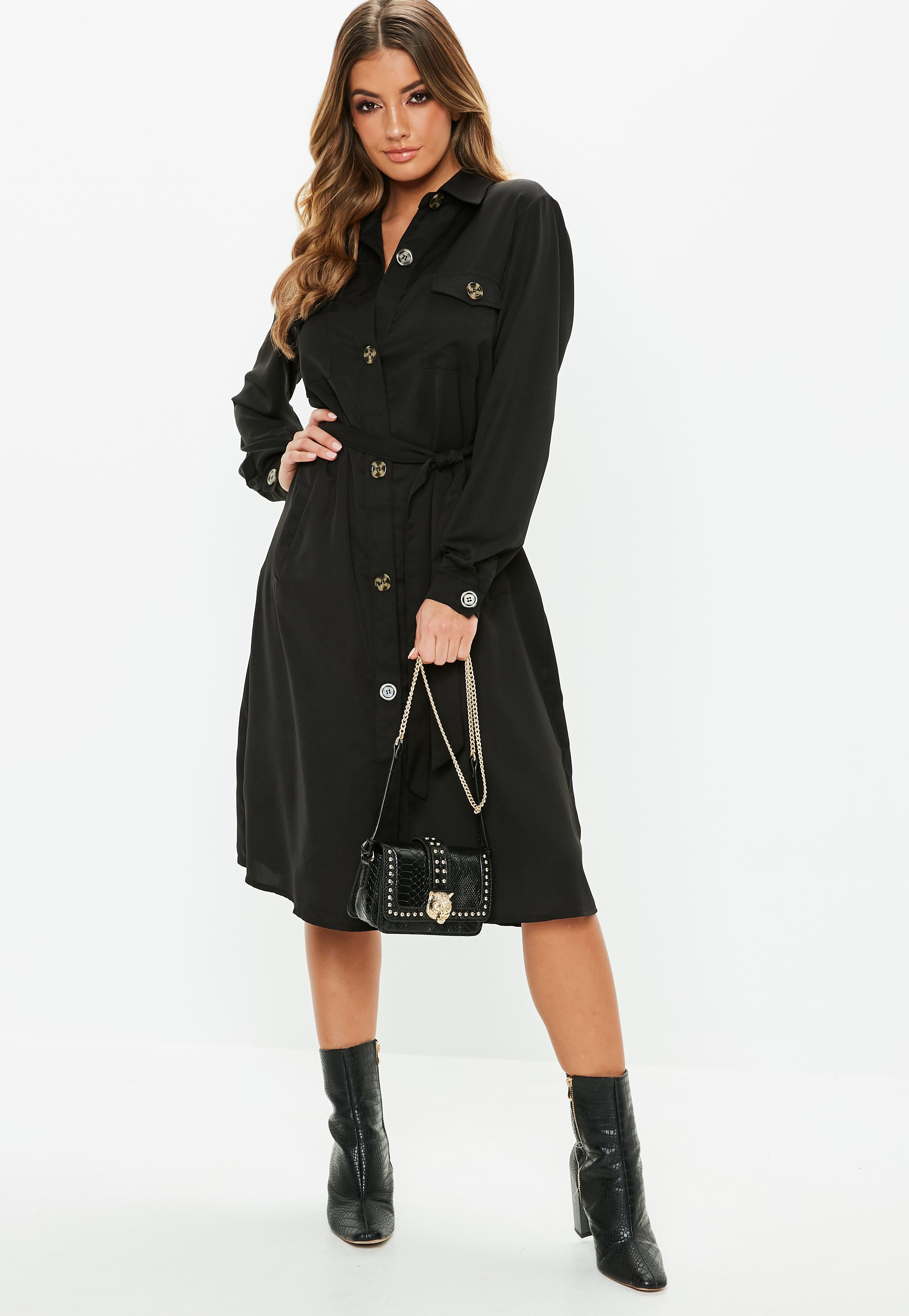 3a22c4b132c Black Tie Waist Utility Midi Shirt Dress