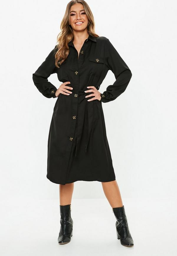 Black Tie Waist Utility Midi Shirt Dress Missguided