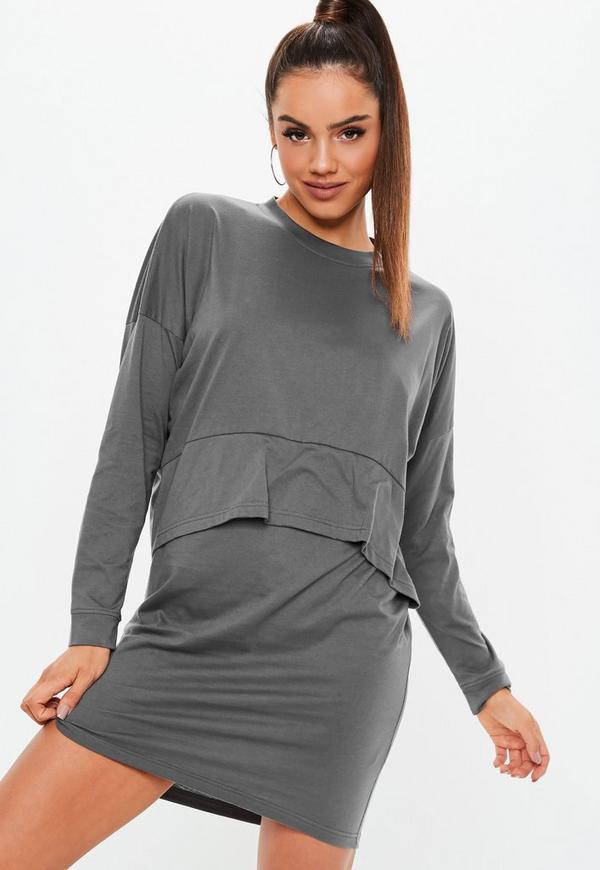 0ddd25e0c06e Dark Grey Jersey Overlay T Shirt Dress