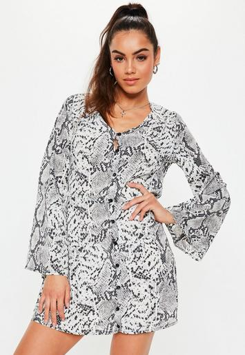 Grey Snake Print Button Down Skater Dress by Missguided