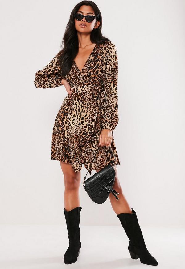 b07c672d2f Brown Leopard Print Wrap Side Tea Dress