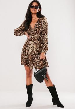 c1a772e9c79 Brown Leopard Print Wrap Side Tea Dress