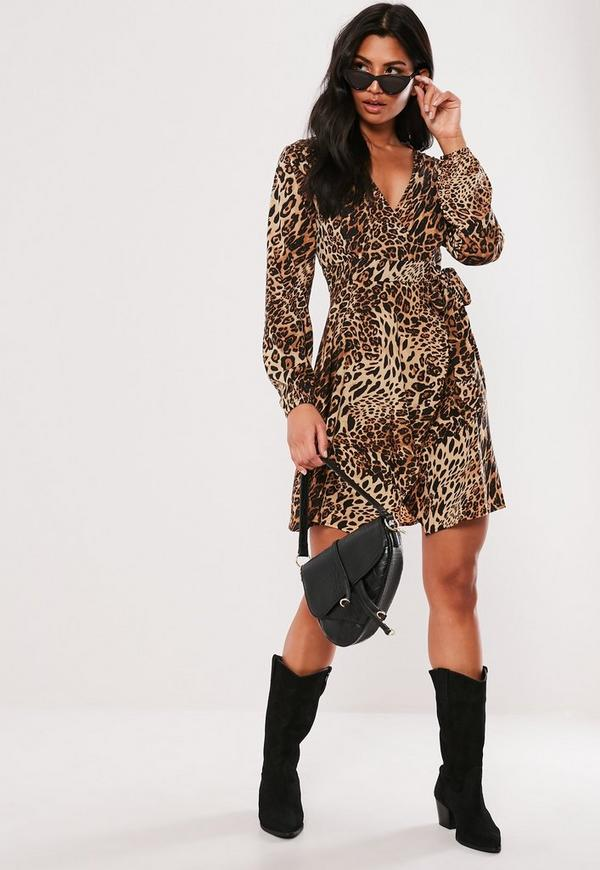 brown leopard print wrap side tea dress