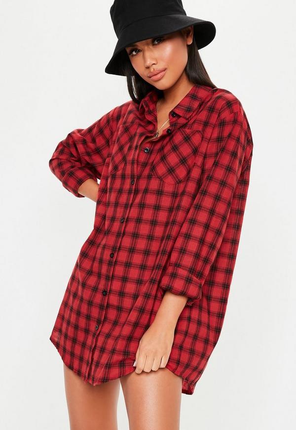 Petite Red Plaid Oversized Shirt Dress
