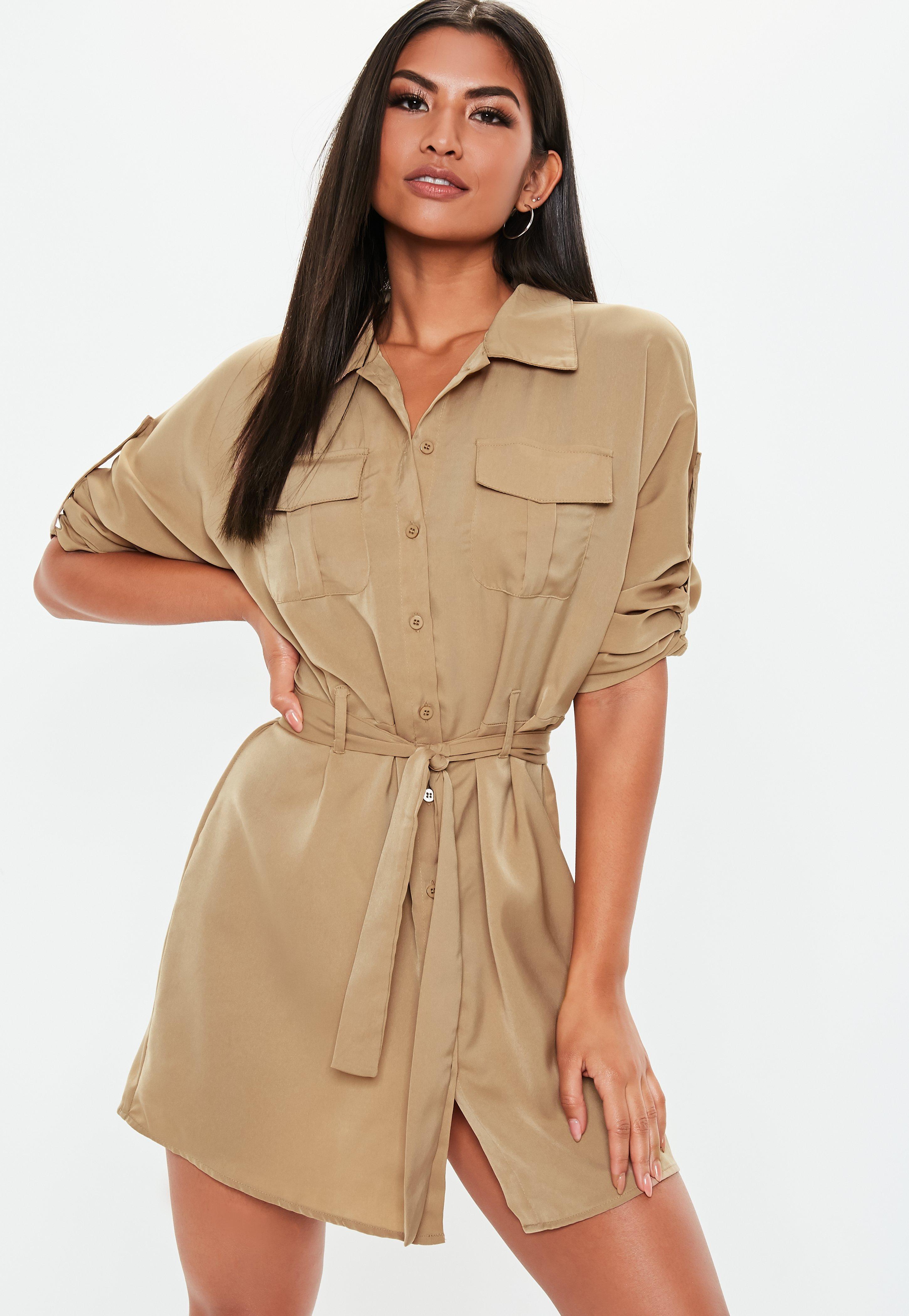 Robe-chemise utility beige à ceinture   Missguided b87d49cdd4a